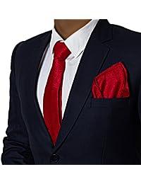 Vibhavari Men's Red Tie and Pocket Square (Paisley)