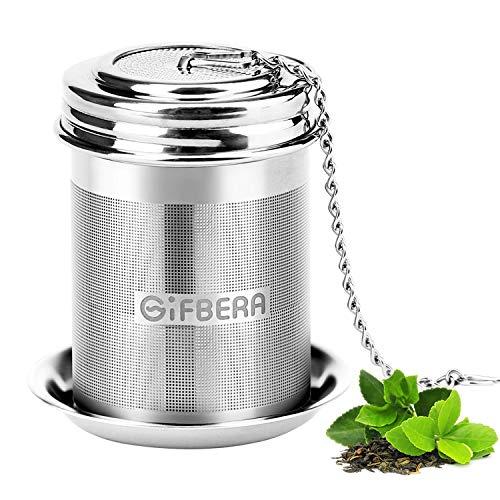 GIFBERA Teesieb für Kanne Teefilter Extrafeinmaschiger Teesieb Edelstahl Gewindeanschluss Edelstahl mit Verlängertem Kettenhaken Teefilter für Losen Tee Gewürzgewürze