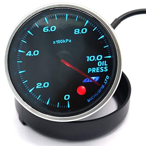 ZHOUQINMEI 12-V-Rennwagen mit 64-Farben-Hintergrundbeleuchtung, einstellbarer 10-Bar-Manometer mit elektronischem Drucksensor (Color : Black) -