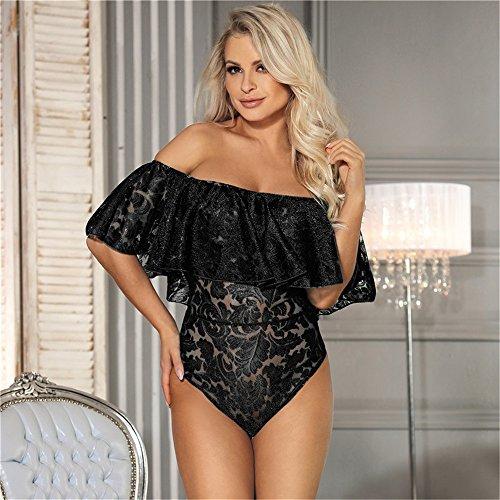 ssous für Frauen Sexy einteiliger Lotusblatt-Kragen der Frauen in Übergröße Sexy Unterwäsche, transparente Spaß-Pyjamas Pyjamas Lace Perspective XXL (Farbe : Schwarz, Größe : M) ()