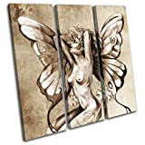 Bold Bloc Design - Nude Fairy Sprite Sexy Painting Erotic 120x120cm TREBLE Canvas Art Print Box Framed Picture Wall Hanging - Hand Made In The UK - Framed And Ready To Hang RC-0452(00B)-TR11-LO-C