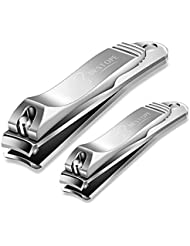 Nail Clippers, BESTOPE 2 Pcs Nail Cutter Set Sharpest Stainless Steel Fingernail + Toenail Kit Perfect for Men & Women