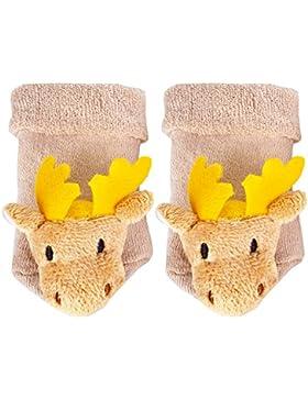 TopSpirit Baby Rasselsocken Rasselsöckchen Elch - Socken für Babies/Baby bis 12 Monate - Mädchen und Jungen |...