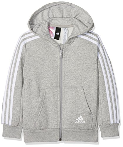 adidas Jungen 3 Stripes Fleece Full Zip Hooded Kapuzen-Jacke, Medium Grey Heather/White, 152 (Kapuzen-jacke)