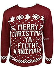 "New Mens FashionFactor Pull tricot rétro Inscription Merry Christmas Pull Bordeaux Ya Filthy ""Animal"