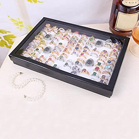 Schmuck Aufbewahrungskiste, Zolimx Schmuck Ringe Display Tray Velvet 100 Slot Case Box (Weiß)