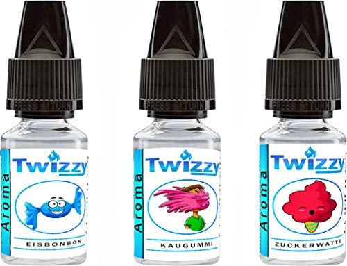 3 x 10ml Twizzy Sweets Aroma Bundle | Eisbonbon, Kaugummi, Zuckerwatte | Aroma für Shakes, Backen, Cocktails, Eis | Aroma für Dampf Liquid und E-Shishas | Ohne Nikotin 0,0mg | Flav Drops
