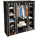 TecTake Armoire de rangement en tissu triple à vêtements dressing penderie & tringle | -diverses couleurs au choix- (Noir | no. 402528)