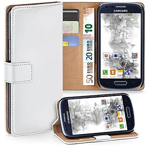 Samsung Galaxy S3 Mini Hülle Weiß mit Karten-Fach [OneFlow 360° Book Klapp-Hülle] Handytasche Kunst-Leder Handyhülle für Samsung Galaxy S3 Mini S III Case Flip Cover Schutzhülle