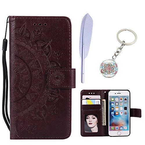 KM-Panda Kompatibel für Apple iPhone 7 Plus 8 Plus Leder Tasche Klapphülle Schutzhülle Handytasche Ledertasche Handyhülle Lederhülle Flip Case hülle mit Kartenfächer - Braun - Apple Iphone Schwarz Holster