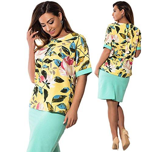 Übergröße Kleid Rock Drucken Kleid Elegant Etuikleid abendkleid Kleider Damen Gelb