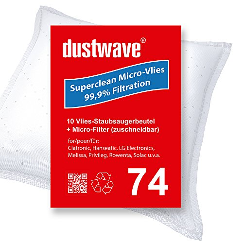 Sparpack - 10 Staubsaugerbeutel geeignet für Rowenta - RO 2366 / RO2366 Power Space Bodenstaubsauger von dustwave® Markenstaubbeutel – Made in Germany