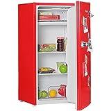 AMSTYLE Design Retro Minikühlschrank 95L rot A+ mit Gefrierfach Türanschlag wechselbar | Kühlschrank freistehend mit Stufenloser Temperatureinstellung | Party-Kühlschrank mit Flaschenöffner