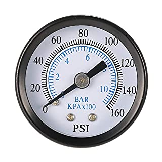 Man9Han1Qxi 0-160psi 0-10bar Druckluft-Manometer 1/8-Zoll-NPT-Rückenmontage 1