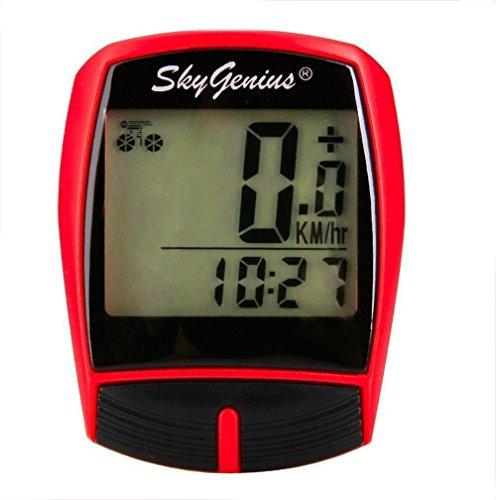 Computer da Bicicletta, LCD digitale impermeabile Ciclocomputer, Multifunzione Wireless Contachilometri per Bici(Rosso)