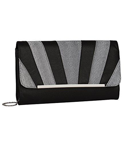 SIX SALE - Damen Damen Abend Handtasche, Clutch, Couvert-Stil, abnehmbare Kettenriemen, schimmernd, schwarz-silber (427-532) (Box-clutch-schwarz-abend-taschen)