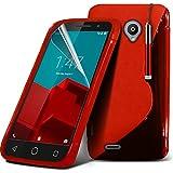 ONX3® (Red) Vodafone Smart Prime 6 Hülle Abdeckung Cover Case schutzhülle Tasche Custom Made Rechtssache S zeichnen Wellen Gel Kasten Haut Abdeckung mit LCD Display Schutzfolie, Poliertuch und Mini versenkbaren Stylus Pen