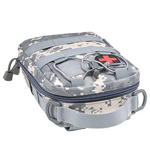 517bBq V8tL - Botiquín de primeros auxilios EMT Bolsa táctica compacta MOLLE Botiquín médico 1000D para viajes en el lugar de trabajo al aire libre en el hogar (gris)