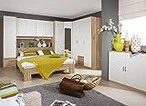 Schlafzimmer, Schlafzimmermöbel, Set, Schlafzimmereinrichtung, 4-teilig, Spiegel, Drehtürenschrank, Bett, alpinweiß, Eiche Sonoma Nachbildung