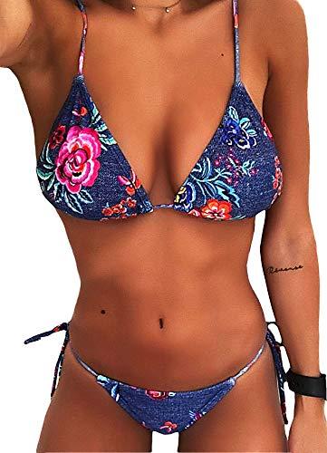 FITTOO Damen Triangel Bandeau Push up Bikini-Set Gepolstert Gebunden Bademode mit Nackenträger Blumen-1523 XL -