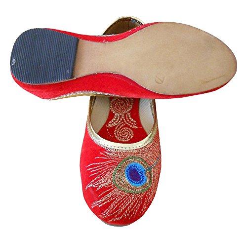 KALRA Creations Damen Traditionelle Handgemachte Samt Leder indischen Designer Schuhe Rot