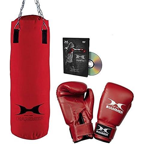 Hammer Home-Set Fit - Conjunto de saco de boxeo, guantes y DVD (28 x 60 cm), color rojo