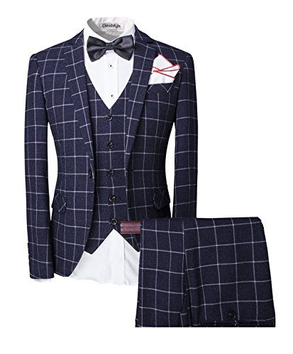 Cloudstyle Men's Vintage 3 Piece Tweed Suits Slim Fit One Button Plaid Wedding Prom Party
