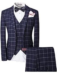 Hombre Trajes de Slim Fit un botón Blazer chaqueta y chaleco y pantalones Set 3piezas boda Prom Party
