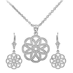 925 Sterling Silber Keltisch Knoten Blume Damen Anhänger Halskette Damen & Kinder Ohrringe Set (Kommt mit eine 45 cm kette)