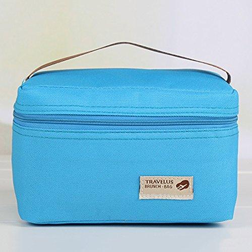 Borse per picnic, Foxom termica portatile impermeabile per il pranzo picnic Carry Tote Storage Bag 18*12*11.5cm Blue - Borsa Di Opp