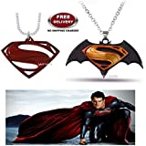 (2 Pcs COMBO SET) - SUPERMAN LOGO (RED) & DAWN OF JUSTICE LOGO (BLACK/YELLOW) IMPORTED PENDANTS WITH CHAIN. LADY HAWK DESIGNER SERIES 2018. ❤ ALSO CHECK FOR LATEST ARRIVALS - NOW ON SALE IN AMAZON - RINGS - KEYCHAINS - NECKLACE - BRACELET &