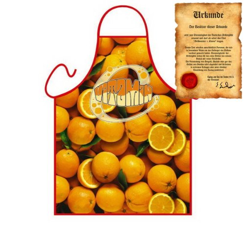 Dessert Früchte Kochschürze: Orange - Geschenke Zitrusfrüchte Schürze zum Geburtstag one Size, bunt mit gratis Urkunde : )