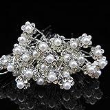 Hosaire 20PCS Bridal Pearl Flower Crystal Rhinestone Hair Pins Clips Hairpins Wedding Accessories