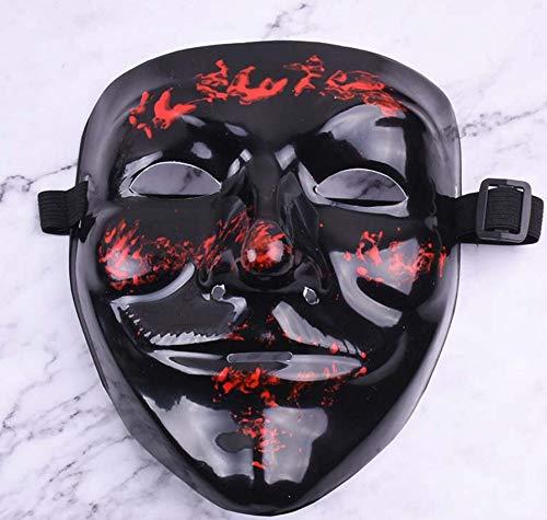 PVC grün Street Dance schwarz V Wort Maske Blut Gesicht Horror Halloween Tänzer Maske - kaltes Licht mit Blut - Disco Tänzer Kostüm Kinder