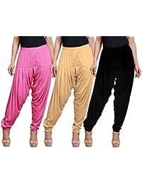 Eazy Trendz Women's Viscose Lycra Solid Patiala Pack Of 3-SKIN_BLACK_MPINK