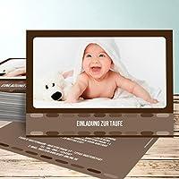 Einladungskarten Basteln Taufe, Fotokasten 30 Karten, Horizontal Einfach  148x105 Inkl. Weiße Umschläge,