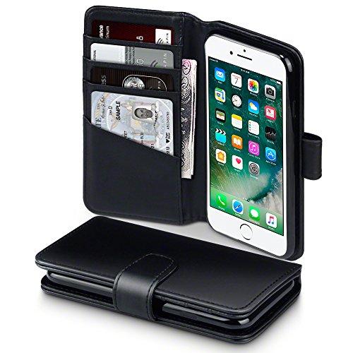 Terrapin, Kompatibel mit iPhone 8 / iPhone 7 Hülle, [ECHT LEDER] Brieftasche Case Tasche mit Kartenfächer und Bargeld - Schwarz