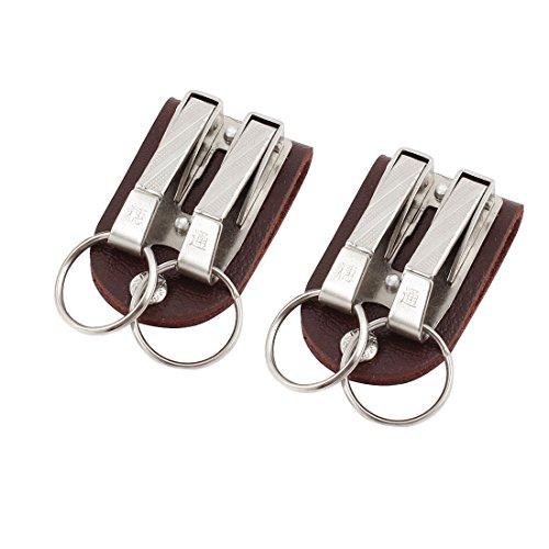 sourcingmap® Faux Leather Belt Buckle Clip Keyring Keychain Key Holder 2Pcs Brown