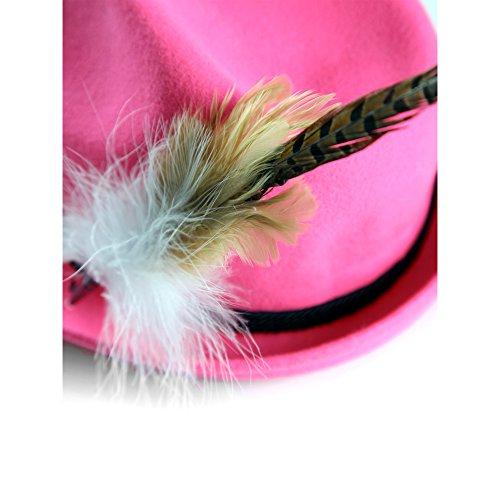 ALMBOCK Trachtenhut Damen mit Feder | Trachtenhüte in vielen Farben und den Größen S M L | Trachten Hut hergestellt aus Woll-Filz (S (54cm), Pink | Modell H9) - 3