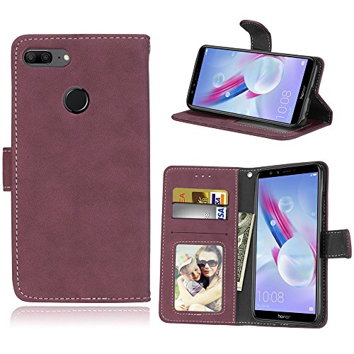 Huawei Honor 9 Lite Hülle, Honor 9 Lite Handyhüle, Alfort Einfarbige Farbe PU Ledertasche Lederhülle Tasche Wallet Case Schutzhülle für Huawei Honor 9 Lite Smartphone (Rose rot)