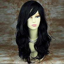 Wunderbare Wellige Lange Schwarze Lockige Perücke Haar Wiwigs