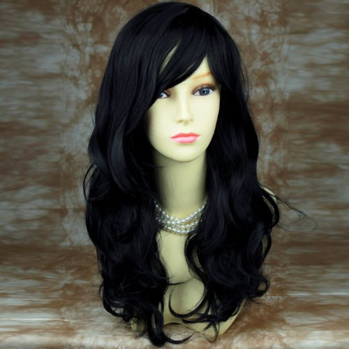 Welliges Wunderbar gewellt lang Haar (Haar Schwarz Perücken)