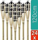 24 Fackeln Gartenfackeln Bambus 120 cm Holzfarben I Lange Brenndauer I Umweltfreundlich I Nachfüllbare Ölfackel Set