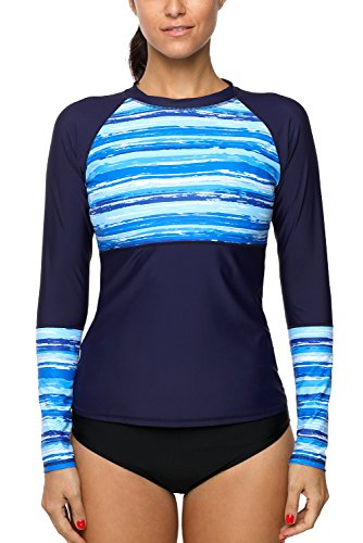 Charmleaks Damen Langarmshirt Surf Sport Rash Vest Tropical Rash Guard Top Gr. M, blau