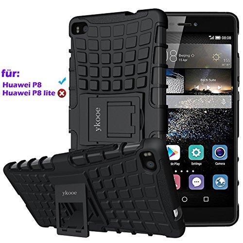 Huawei P8 hülle, ykooe (Rüstungs Series) P8 Hülle Dual Layer Hybrid Handyhülle Stoßfest Handys Schutz Case mit Ständer Schutzhülle für Huawei P8 (5,2 Zoll) Schwarz