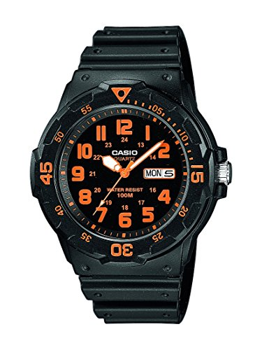 Casio Collection Herren-Armbanduhr MRW 200H 4BVEF, schwarz/Orange (Kinder-armbanduhr Timex)