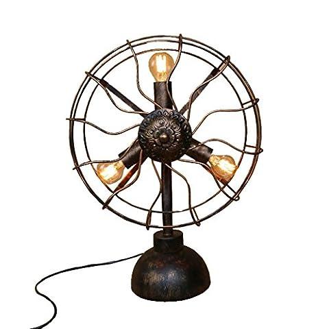 Health UK Table lamp- American Retro Iron Fan en forme de tuyau d'eau lampe de table café Loft industrie Bar décoration Steampunk Vintage Antique rouille E27 Desk Light Welcome