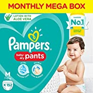 Pampers All round Protection Pants, Medium size baby diapers (MD), 152 Count, Anti Rash diapers, Lotion with A