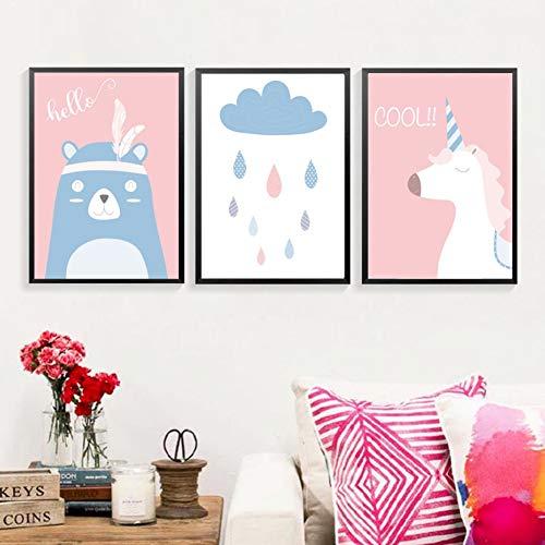 ZSHSCL Impresión En Lienzo De Pintura 3 Unidades Kawaii Animales Pinturas En Lienzo Arte De La Pared Cuadros del Regalo del Regalo E Impresión para Los Niños Dormitorio Decoración para El Hogar, 40