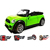 Metal Die Cast Car With Pullback Action,Openable Doors,light And Sound (mini Cooper ) (Green)